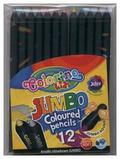 Kredki ołówkowe Colorino okrągłe Jumbo 12 kolorów + temperówka czarne