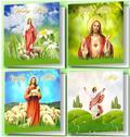Karnet Wielkanocny (10szt.) kwadrat religia MIX