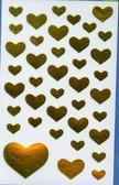 Naklejki złote serca folia